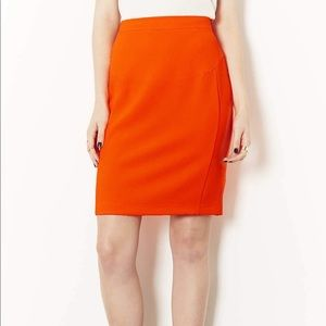 Top shop orange midi skirt with zip at the back